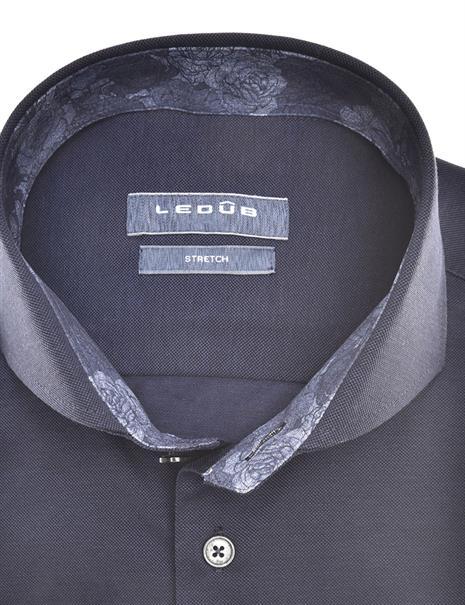 Ledub jersey overhemd 0140484 in het Wit/Blauw