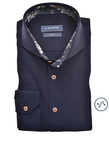 Ledub jersey overhemd Modern Fit 0139987 in het Donker Blauw
