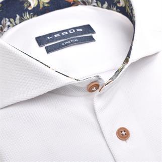 Ledub jersey overhemd Modern Fit 0139987 in het Wit/Blauw