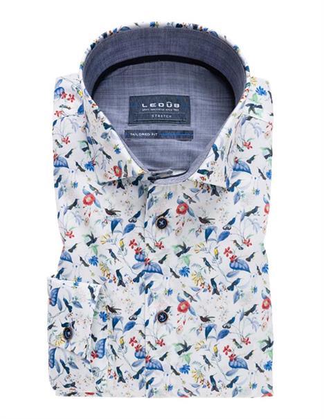 Ledub overhemd 0137817 in het Wit/Blauw