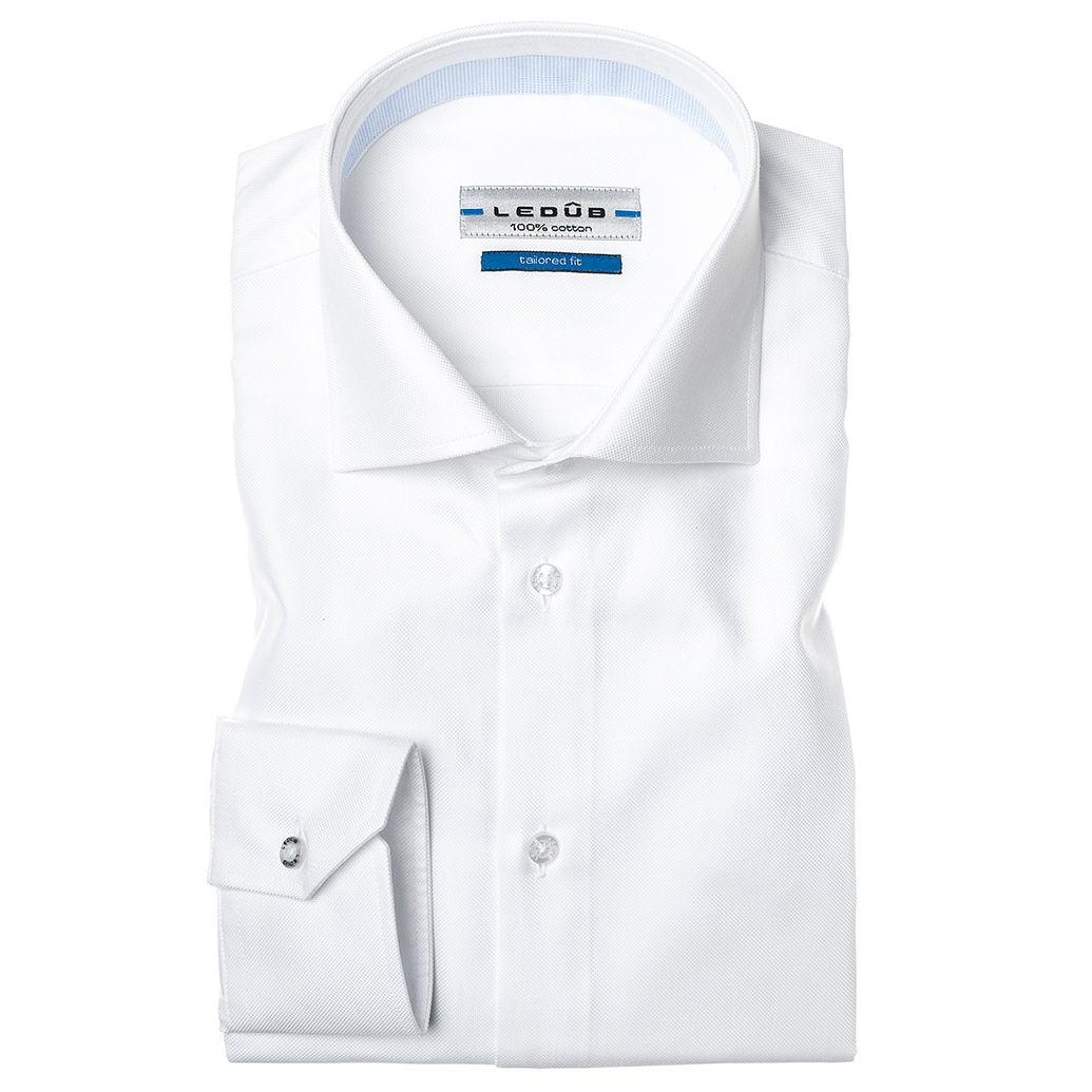 Ledub overhemd Tailored Fit 0034569 in het Wit/Blauw