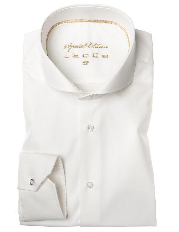 Ledub overhemd Tailored Fit 0043548 in het Offwhite