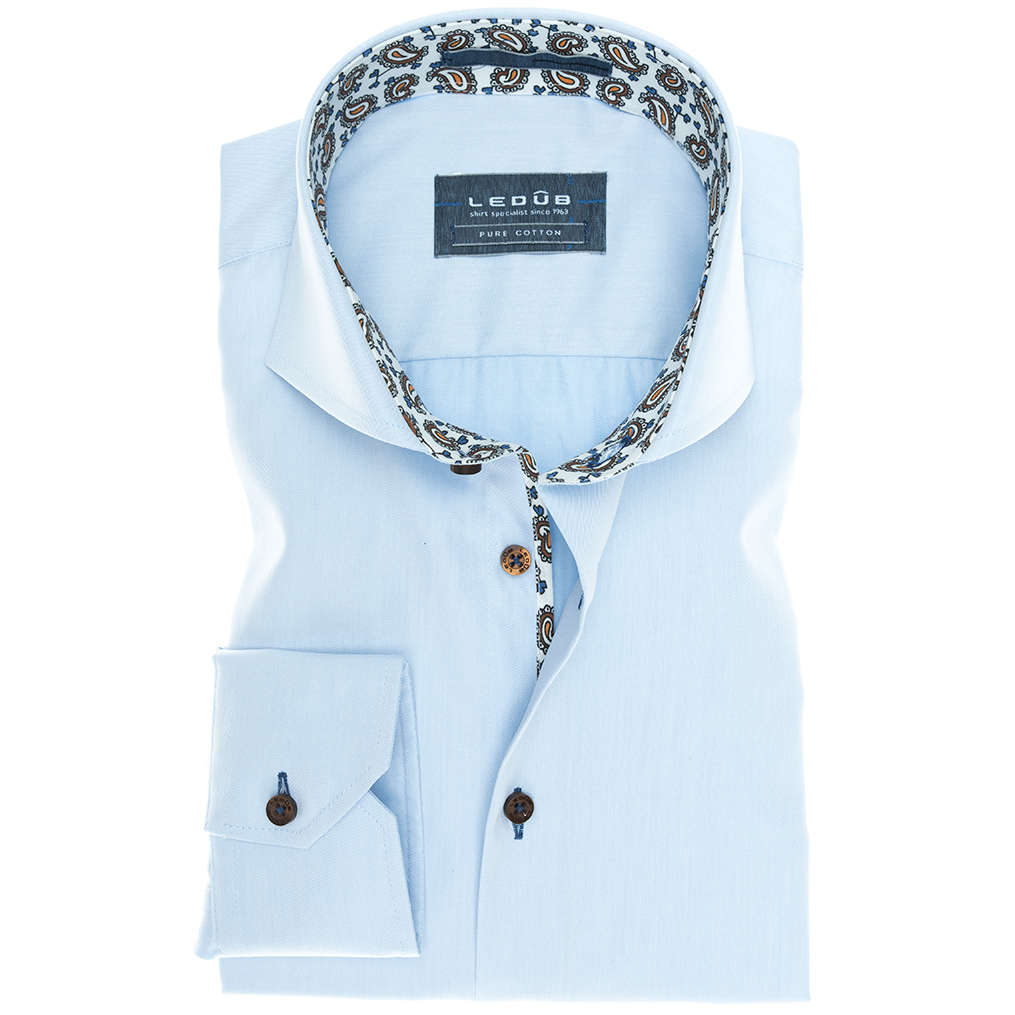 Image of Ledub overhemd Tailored Fit 0136710 in het Licht Blauw
