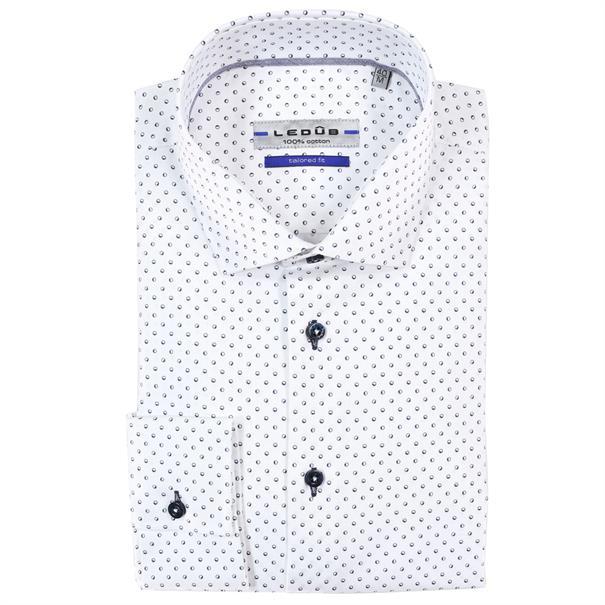 Ledub overhemd Tailored Fit 0137678 in het Wit/Blauw