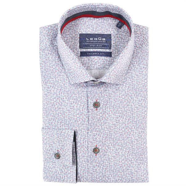Ledub overhemd Tailored Fit 0137785 in het Rood