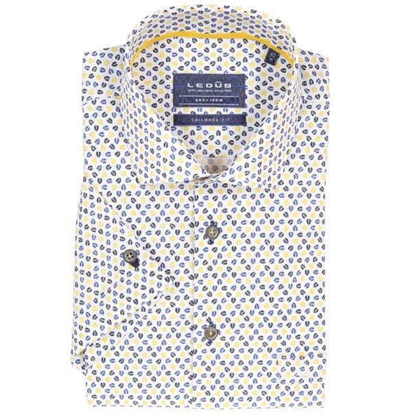 Ledub overhemd Tailored Fit 0137794 in het Wit/Geel