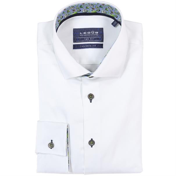Ledub overhemd Tailored Fit 0137806 in het Wit/Blauw