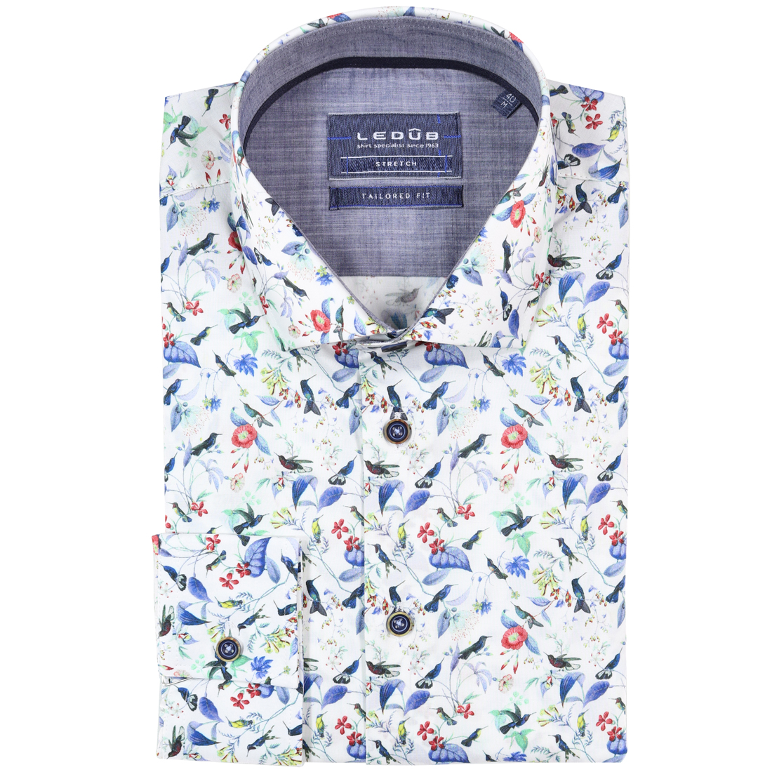 Ledub overhemd Tailored Fit 0137813 in het Wit/Blauw