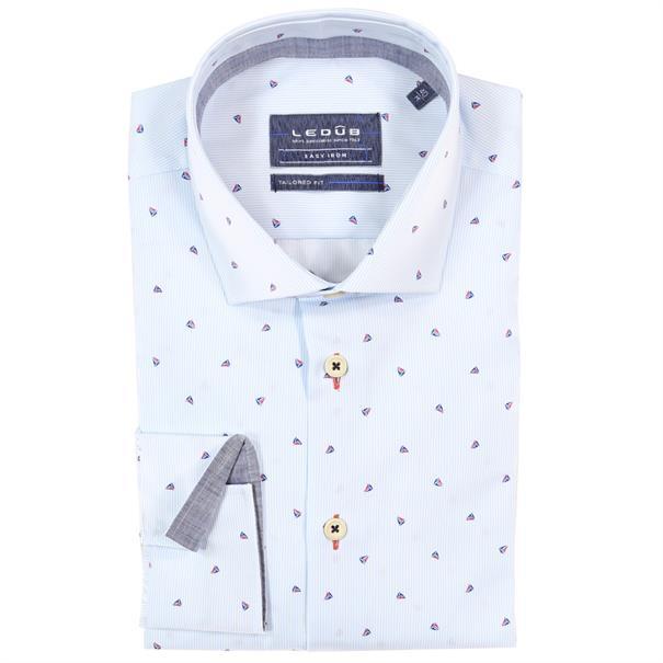 Ledub overhemd Tailored Fit 0137886 in het Donker Blauw