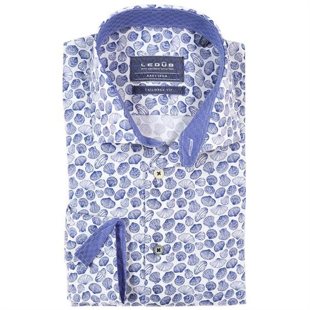 Ledub overhemd Tailored Fit 0137893 in het Donker Blauw