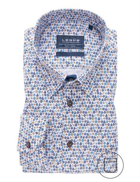 Ledub overhemd Tailored Fit 0138644 in het Donker Blauw