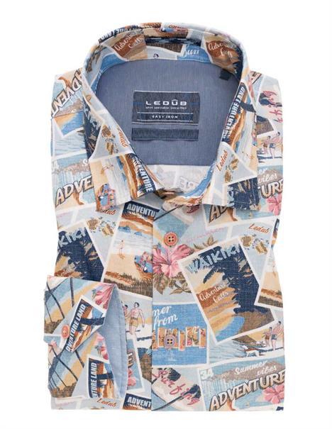 Ledub overhemd Tailored Fit 0138809 in het Multicolor