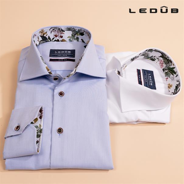 Ledub overhemd Tailored Fit 0138928 in het Licht Blauw