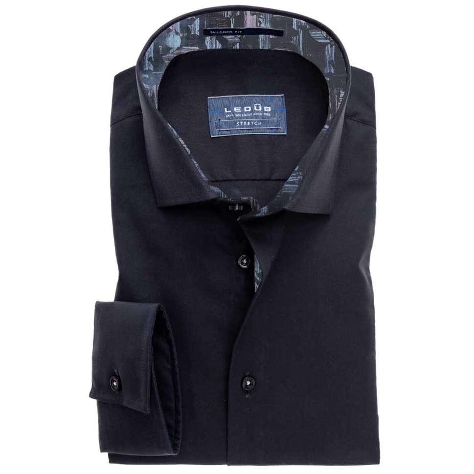 Tailored Fit Overhemd.Ledub Overhemd Tailored Fit 0511148 In Het Zwart