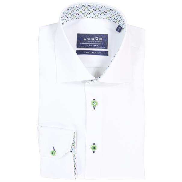 Ledub overhemd Tailored Fit 0511189 in het Wit/Groen