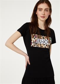 Liu Jo t-shirts fa0422 in het Zwart / Beige