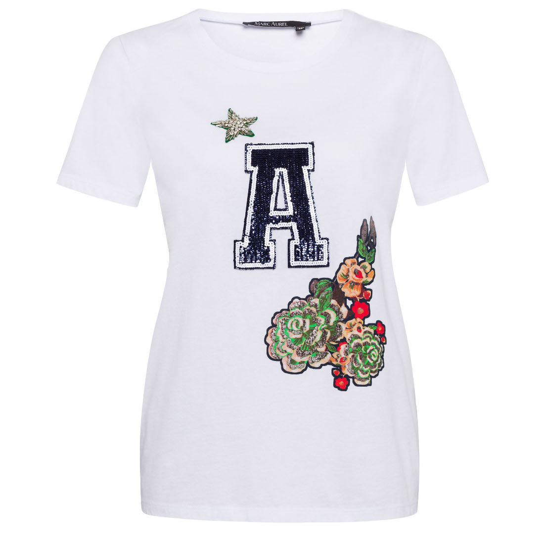 Marc Aurel t-shirt 76647000-72836 in het Wit Groen