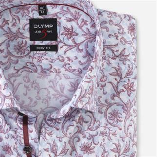 OLYMP business overhemd Body fit 207044 in het Donker Rood