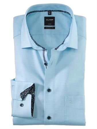 OLYMP business overhemd Modern Fit 120554 in het Parelmoer Blauw