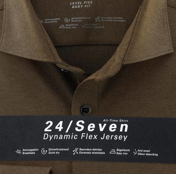 OLYMP jersey overhemd Body fit 200684 in het Bruin