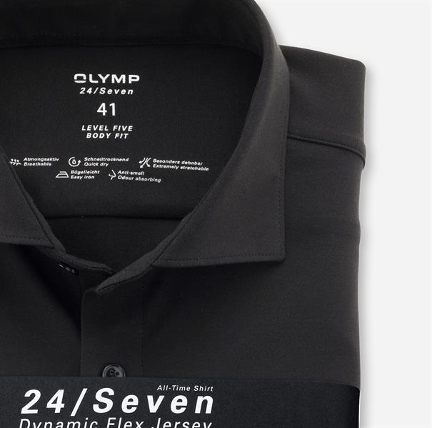 OLYMP jersey overhemd Body fit 200684 in het Zwart