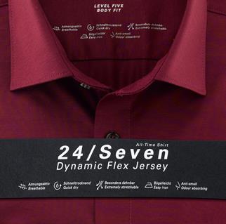 OLYMP jersey overhemd Body fit 200864 in het Bordeaux