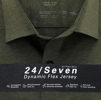 OLYMP jersey overhemd Body fit 200864 in het Olijf groen