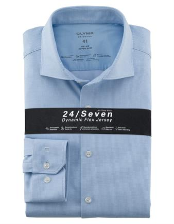 OLYMP jersey overhemd Super Slim Fit 252084 in het Blauw
