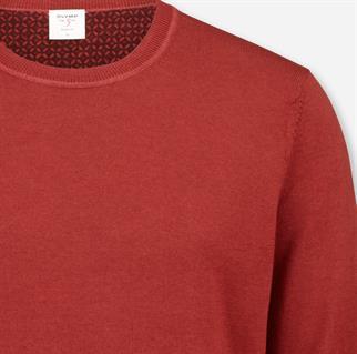 OLYMP ronde hals trui Body fit 535185 in het Donker Rood