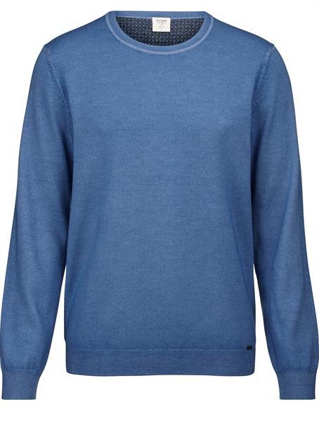 OLYMP ronde hals trui Body fit 535185 in het Licht Blauw