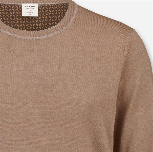 OLYMP ronde hals trui Body fit 535185 in het Taupe