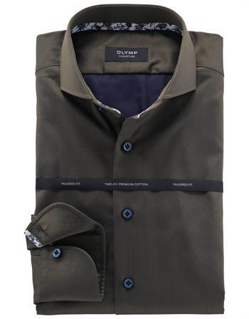 OLYMP SIGNATURE business overhemd Tailored Fit 854064 in het Olijf groen