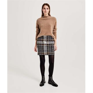 Opus mini rok Ravenna wool check in het Grijs