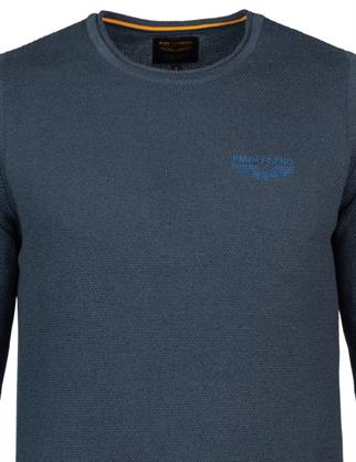 PME Legend ronde hals trui PKW215300 in het Donker Blauw