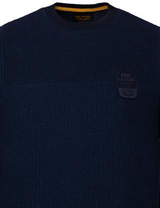 PME Legend ronde hals trui PKW217300 in het Donker Blauw