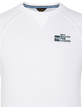 PME Legend ronde hals trui PLS211501 in het Wit