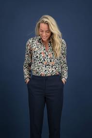 Pom blouse sp6397 in het Wit/Blauw