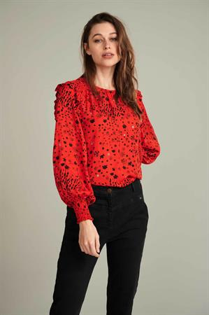 Pom blouse sp6664 in het Rood