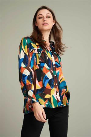 Pom blouse sp6678 in het Kobalt