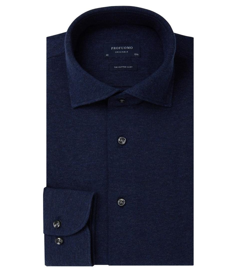 Hemd Profuomo donkerblauw knitted 38