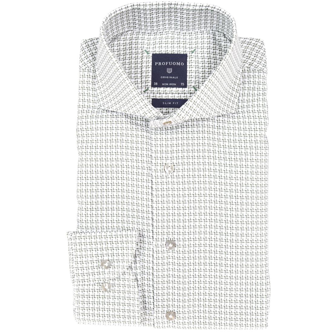 Profuomo overhemd Slim Fit ppph3a1012 in het Groen