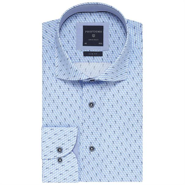 Profuomo overhemd Slim Fit ppqh1a1064 in het Marine