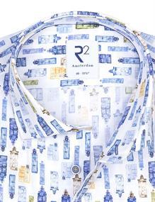 R2 business overhemd 108.WSP.120/014 in het Wit/Rood