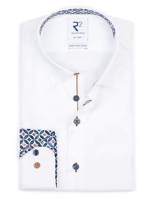 R2 business overhemd 112.HBD.045/004 in het Wit/Rood