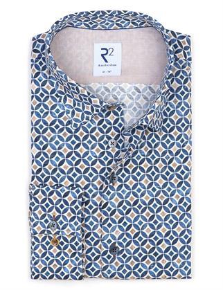 R2 business overhemd 112.HBD.050/014 in het Blauw