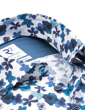 R2 business overhemd 112.WSP.069/014 in het Wit/Rood
