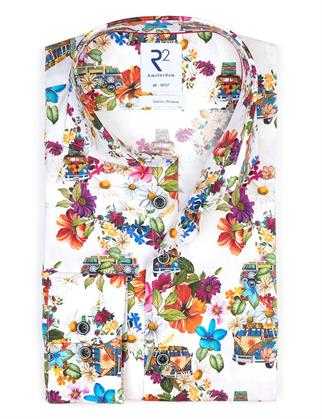 R2 business overhemd 112.WSP.093/073 in het Wit/Rood
