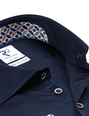 R2 business overhemd 112.WSP.097/010 in het Donker Blauw