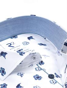 R2 business overhemd 112.WSP.115/014 in het Wit/Blauw