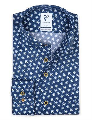 R2 business overhemd 112.WSP.118/014 in het Donker Blauw